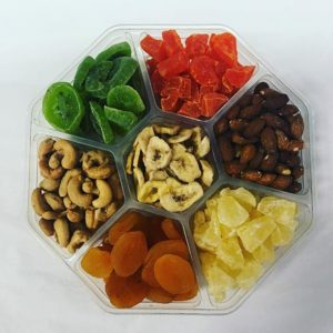 7 Sections Of Assorted Fruit And Nuts